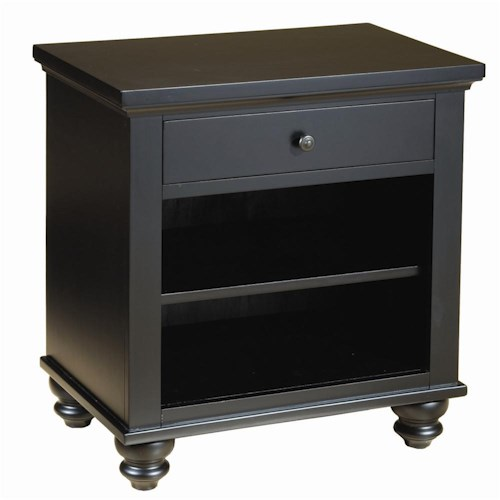 Aspenhome Cambridge One Drawer Night Stand with Two Shelves