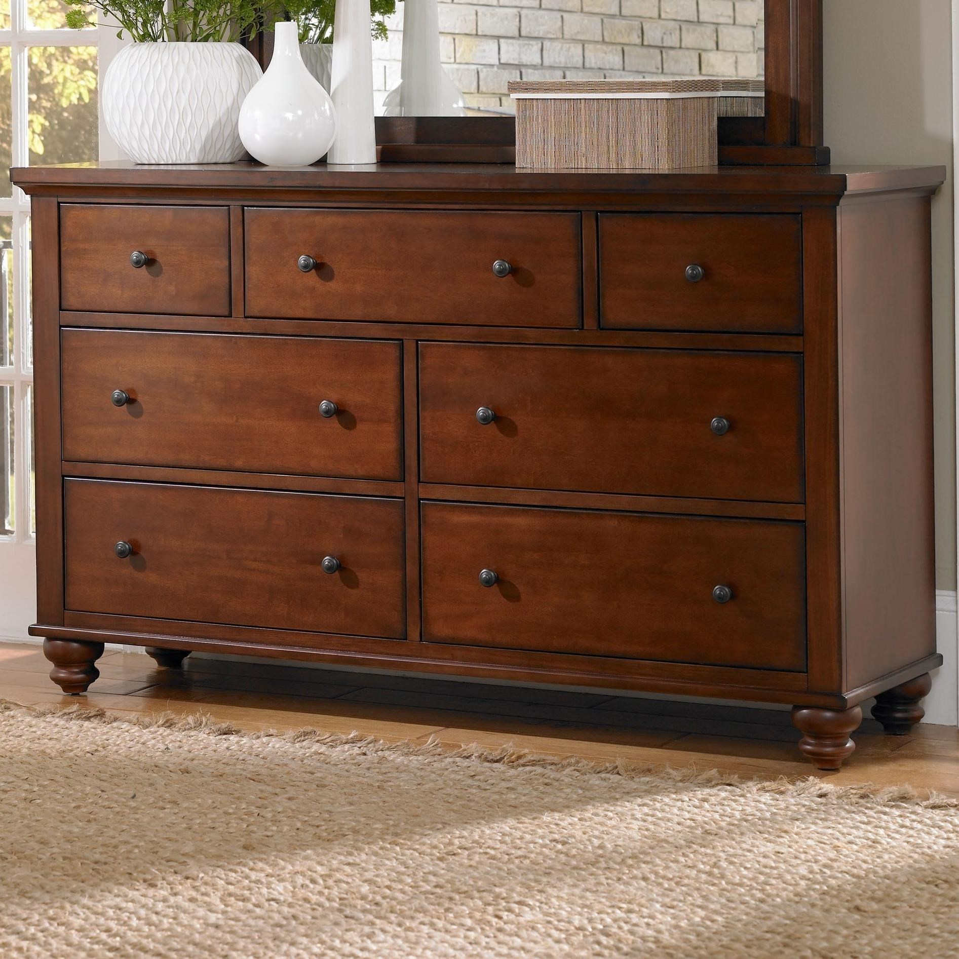 7 Drawer Double Dresser with Turned Feet