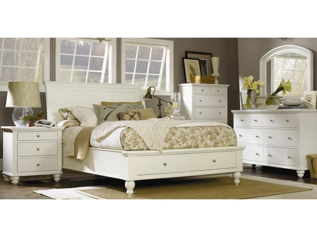 Shown with Liv360 Nightstand, Storage Sleigh Bed, Chest, and Dresser Mirror