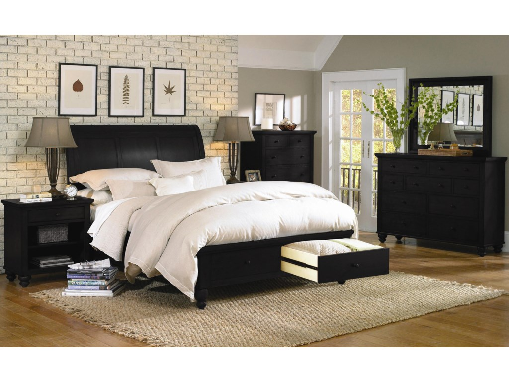 Shown with Chesser Mirror, Sleigh Storage Bed, Chest, and One-Drawer Nightstand