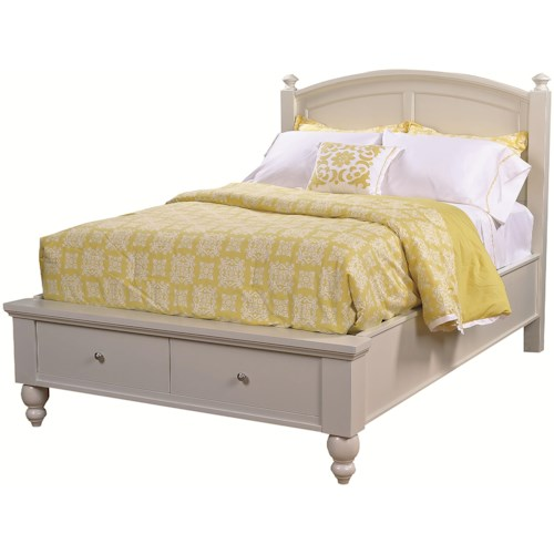 Aspenhome Cambridge Full-Size Bed with Rounded Panel Headboard & Low-Profile One-Drawer Storage Footboard