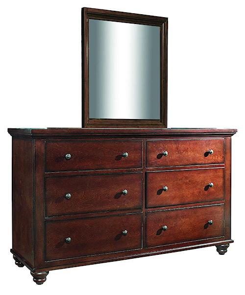 Aspenhome Cambridge 6 Drawer Dresser and Mirror Combo