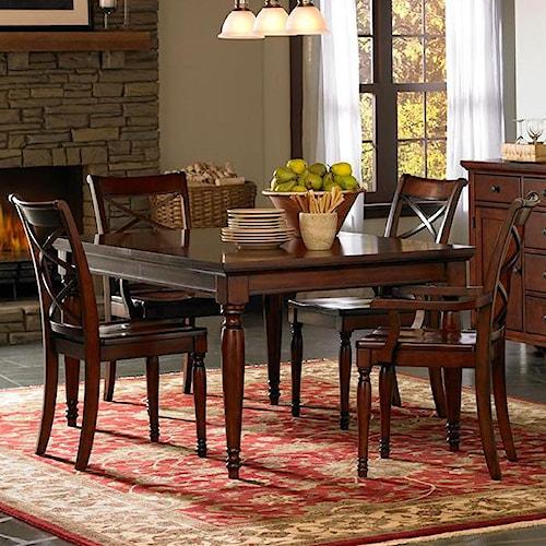 Aspenhome Cambridge 5 Piece Rectangular Leg Dining Table & Chair Set