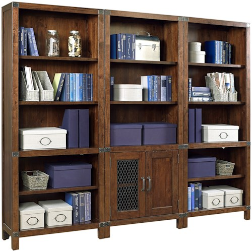 Aspenhome Canfield Bookcase Wall with Interchangeable Door Panels