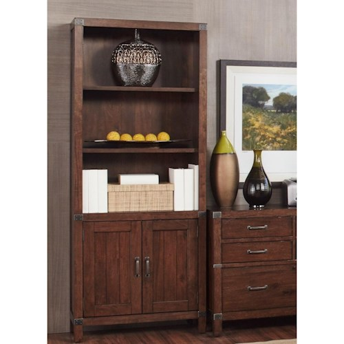 Aspenhome Canfield Bookcase with Intergchangeable Wood or Metal Grill Doors