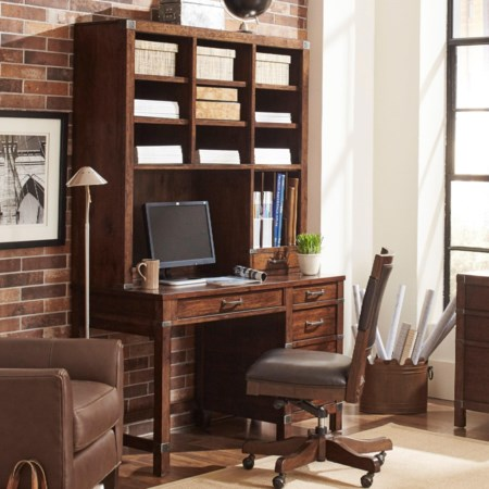 Single Pedestal Desk and Hutch