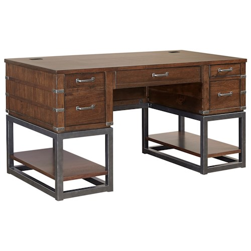 Aspenhome Canfield 61 Half Pedestal Desk With Display