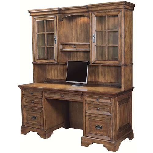 Aspenhome Centennial Kneehole Credenza and 3-Way Light Display Hutch Combination