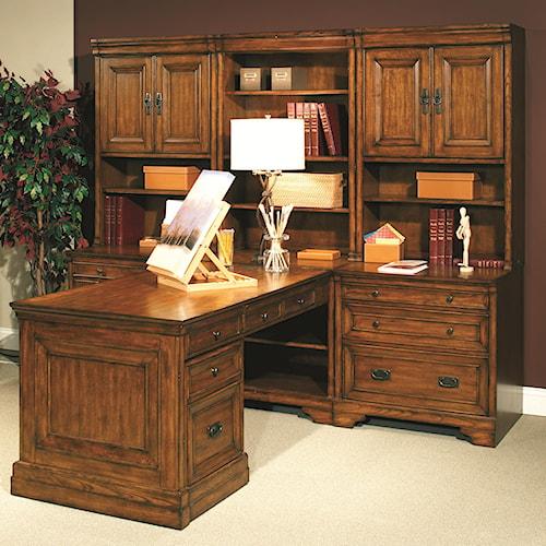 Aspenhome Centennial Modular Wall Office with Computer Desk and Partner's Desk