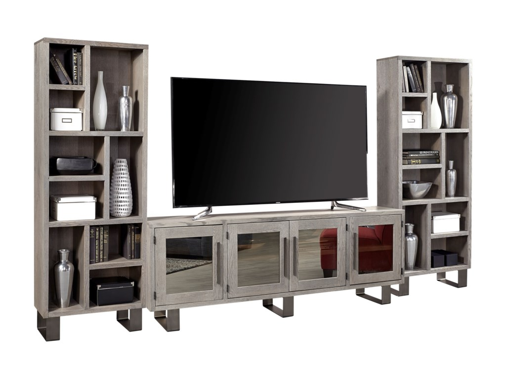 Aspenhome cityscape contemporary entertainment wall unit with 84 tv console and mirrored doors dunk bright furniture wall unit