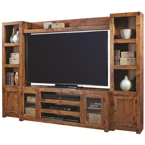 Aspenhome Contemporary Alder Entertainment Wall with 4 Doors and Open Shelving