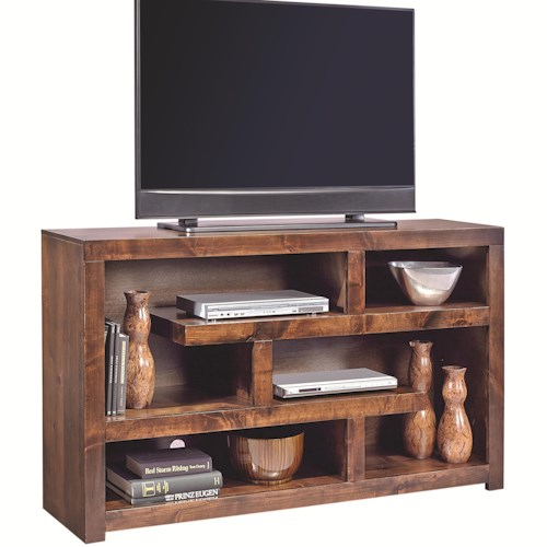 Aspenhome Contemporary Alder 60 Inch Open Console with Geometric Shelving