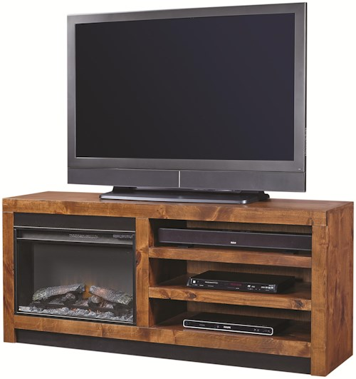 Aspenhome Contemporary Alder 65 Inch Fireplace Console with 2 Shelves