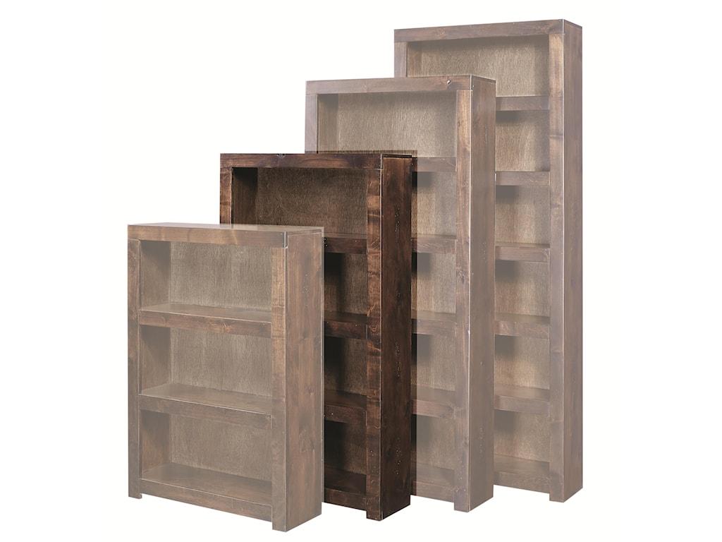 Hills of Aspen Contemporary Alder60 Inch Bookcase