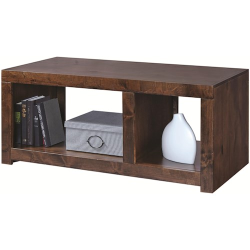 Aspenhome Contemporary Alder Cocktail Table with 2 Open Compartments
