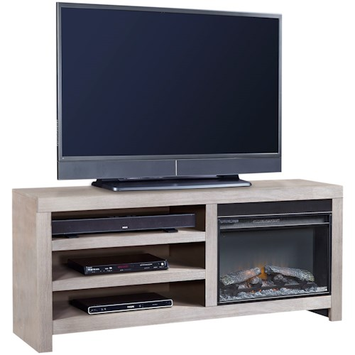 Aspenhome Contemporary Driftwood 65 Inch Fireplace Console with 2 Shelves