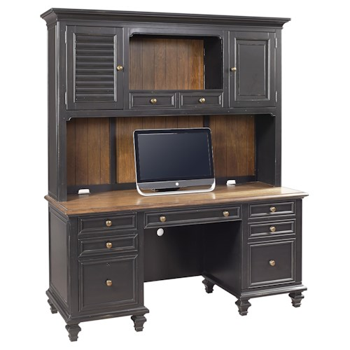 Aspenhome Ravenwood Crendenza with Printer Pullout and Hutch