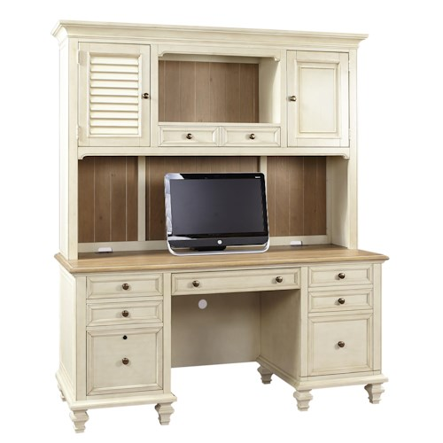 Aspenhome Cottonwood Crendenza with Printer Pullout and Hutch