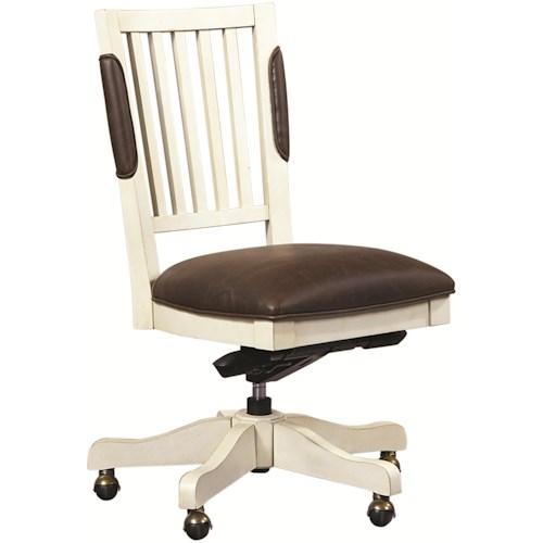 Aspenhome (Clackamas Store Only) Cottonwood Office Chair with Leather Seat and Five-Star Base