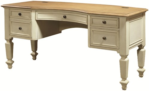 Aspenhome Cottonwood Curved-Top Half Pedestal Desk