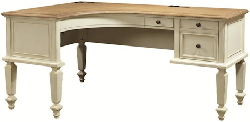 Aspenhome Cottonwood Curved Half Pedestal LShaped Desk With File - L shaped desk with file drawers