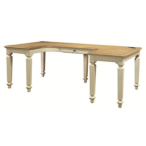 Aspenhome Cottonwood U-Shaped Desk with 2 AC Outlets on Desktop