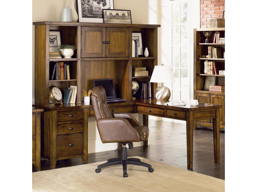Aspenhome Cross CountryL Desk & Hutch