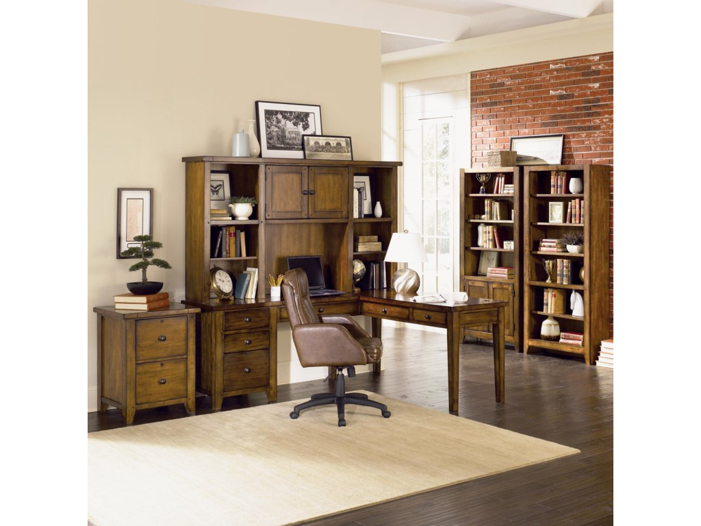 Shown as Bookcase Wall with L Desk and Hutch, and Two Drawer Modular File