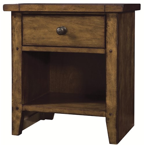 Aspenhome Cross Country One Drawer Night Stand with Shelf