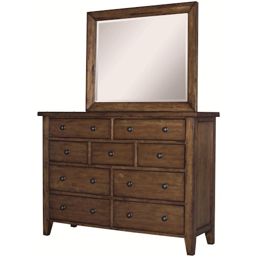 Aspenhome Cross Country Nine Drawer Chesser & Beveled Edge Mirror Combination