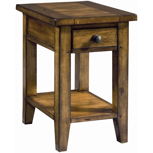 Aspenhome Cross Country Chairside Table with One Drawer & One Shelf