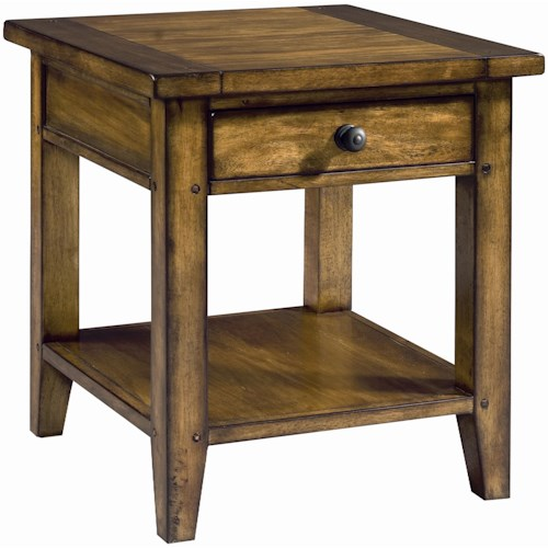 Aspenhome Cross Country End Table with One Drawer & One Shelf
