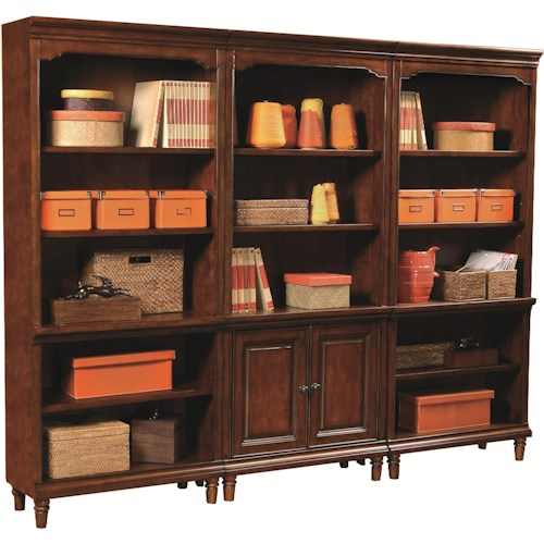 Aspenhome Villager Bookcase Set with 2 Open Bookcases and 1 Door Bookcase