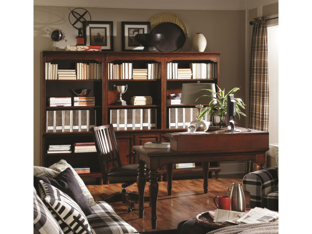 Shown with Curve L Desk, Open Bookcases and Office Chair