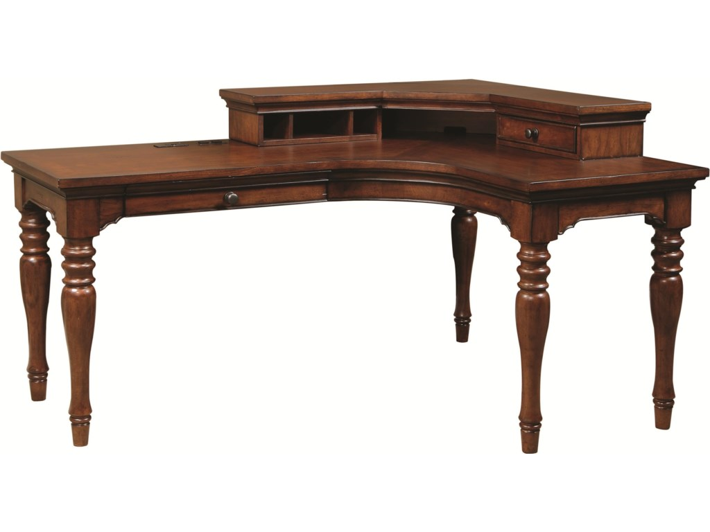 Aspenhome Villager Curve L Desk With 1 Drawer And 4 AC Outlets Corner Hutch