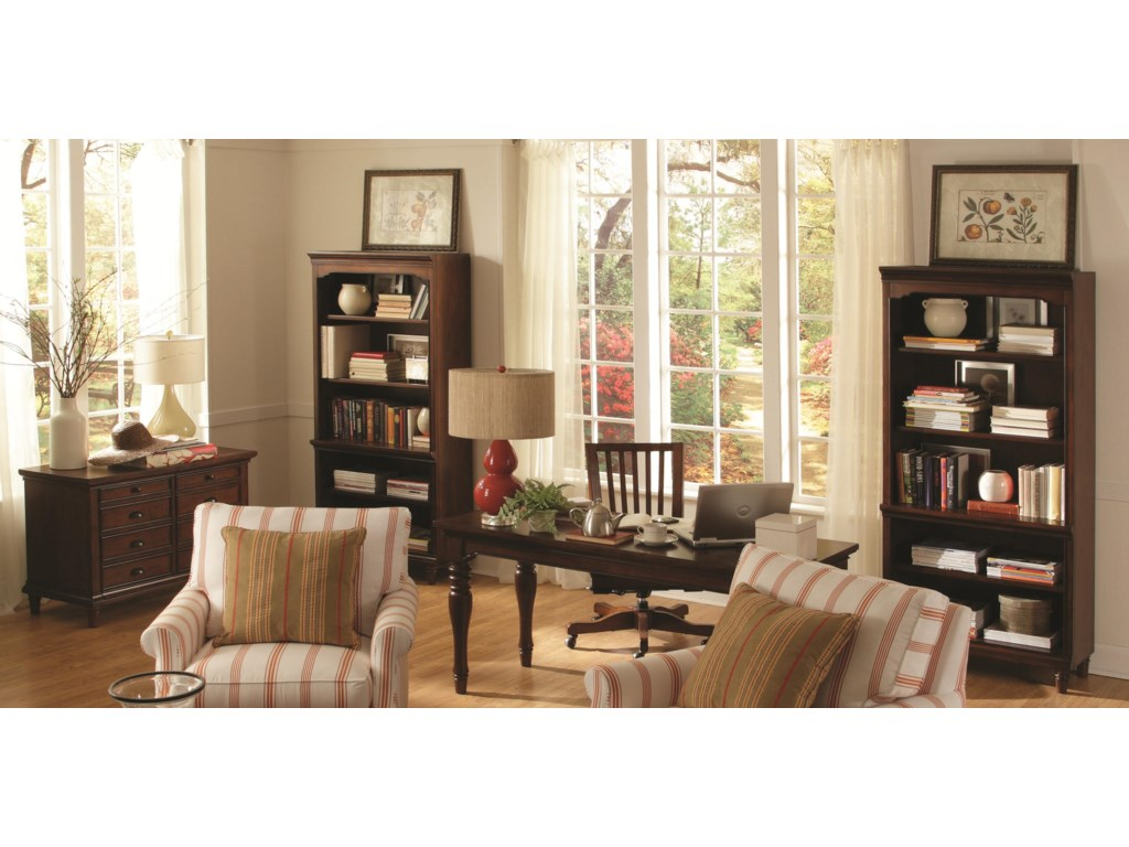 Shown with Open Bookcases, Office Chair, and Writing Desk
