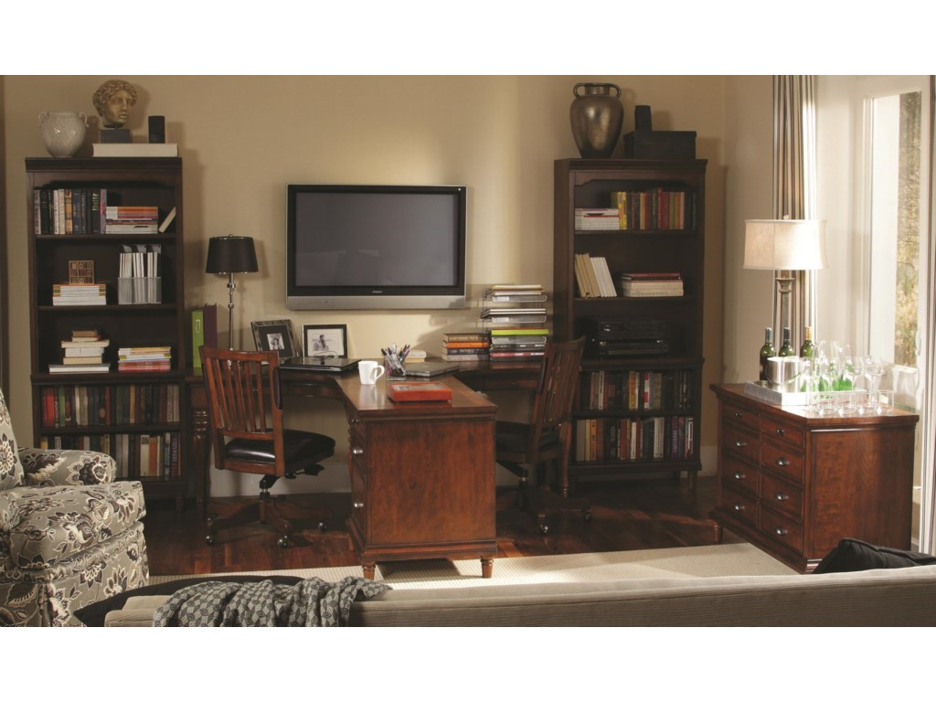 Shown with Open Bookcases, Dual T Desk, Office Chairs, and Combo File