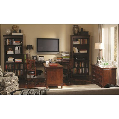 Aspenhome Villager 4 Piece Dual T Desk and Single File Cabinet and 2 Open Bookcases Set