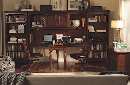 Aspenhome Villager 4 Piece Dual T Desk and Dual T Desk Hutch and 2 Open Bookcases