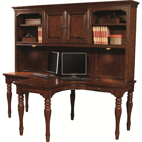 Aspenhome Villager Dual T Desk with 2 Drawers and 4 AC Outlets with Dual T Desk Hutch
