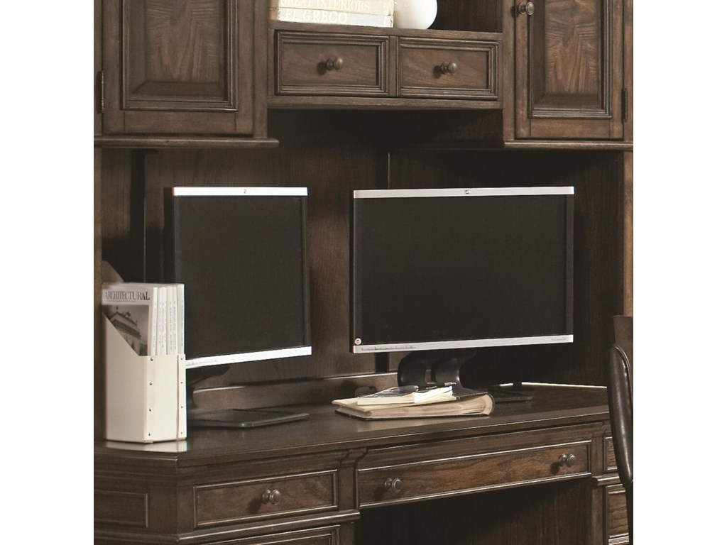 Multiple Monitors Can Fit On Credenza's Spacious Top
