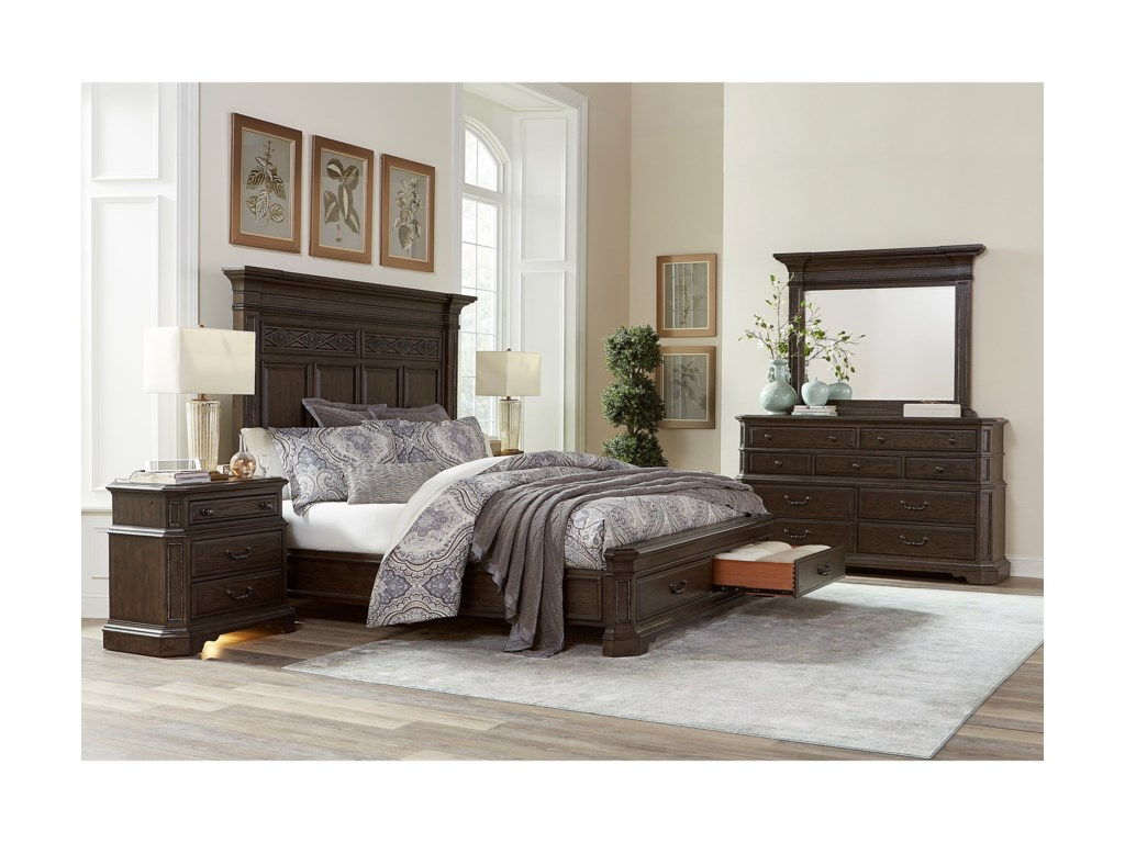 Aspenhome FoxhillCalifornia King Estate Panel Bed w/ Storage