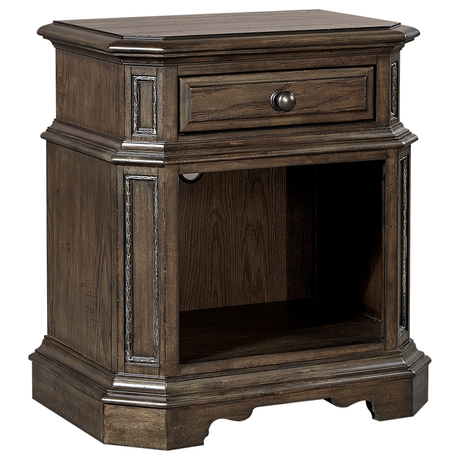 Aspenhome Foxhill Traditional Nightstand With 1 Drawer And 1 Shelf Wayside Furniture Nightstands