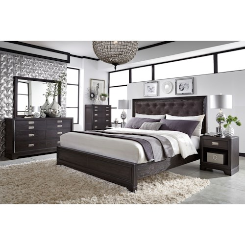 Aspenhome Front Street Queen Upholstered Bed with USB Charging Stations