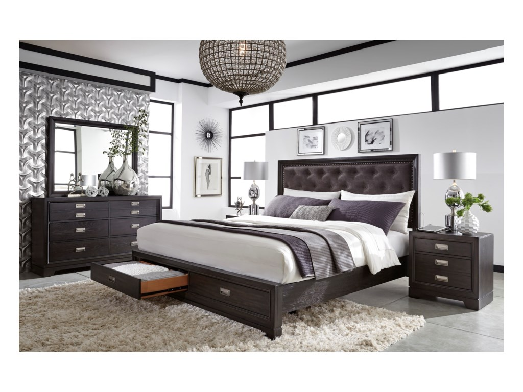 Aspenhome Front StreetCal King Upholstered Panel Storage Bed