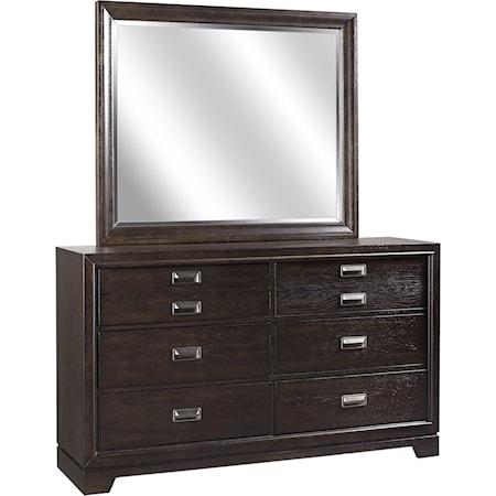Dresser and Landscape Mirror