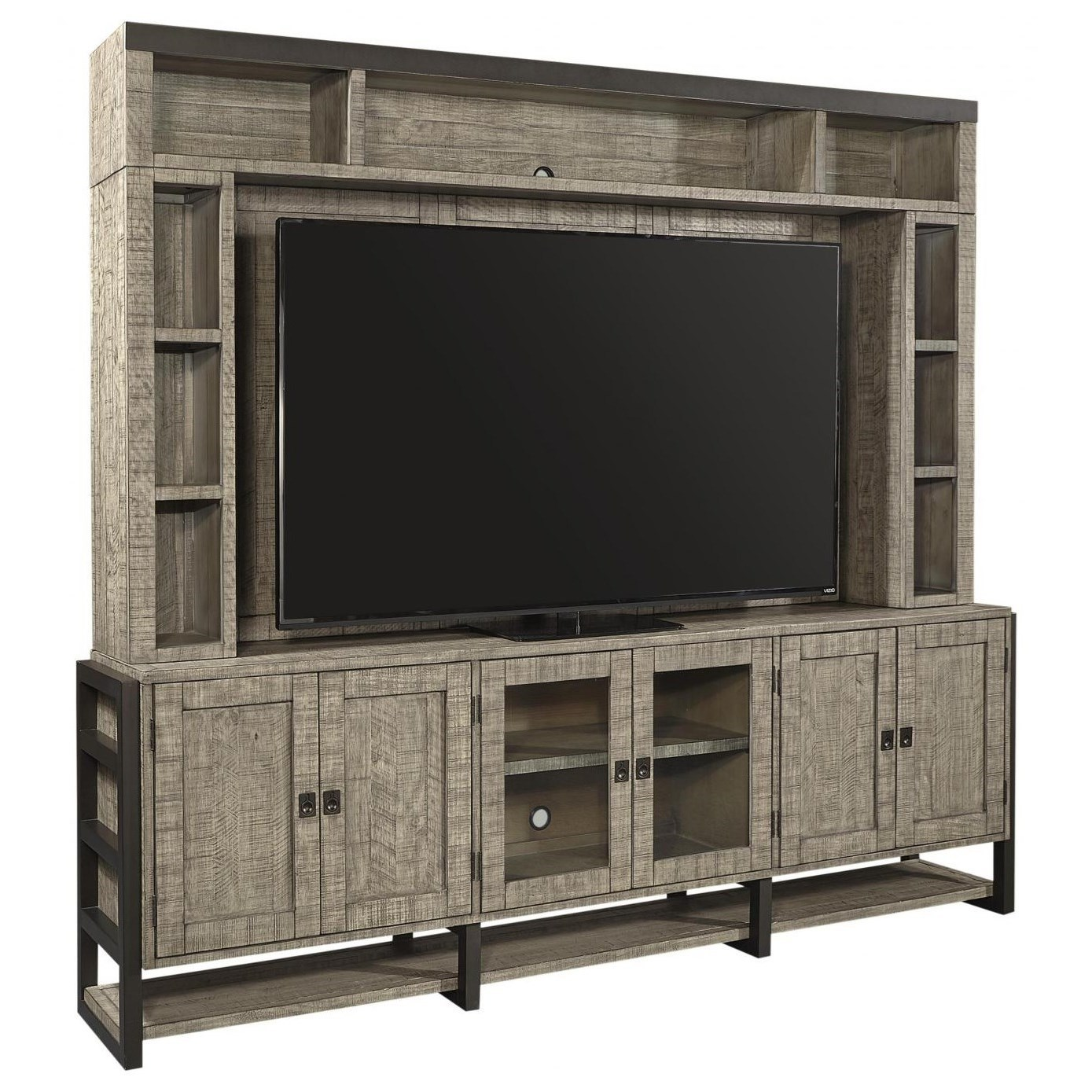 Rustic TV Stand with Hutch and Storage