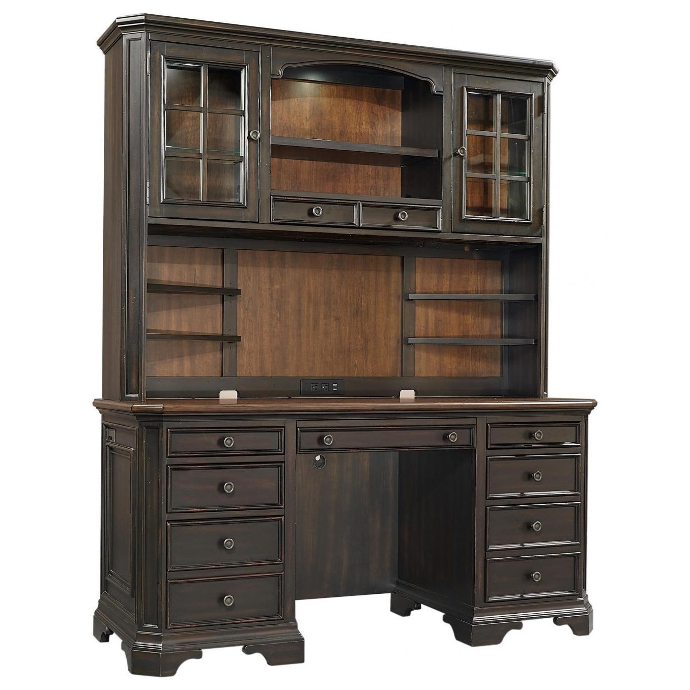 Transitional 8-Drawer Credenza Desk and Hutch with Adjustable/Removable Shelving and AC/USB Ports