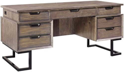 Aspenhome Harper Point Contemporary Desk with Outlets and Locking Drawers