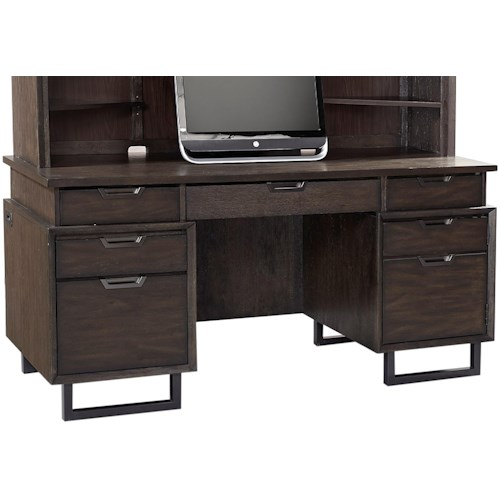 Aspenhome Harper Point Contemporary Credenza Desk with Outlets and USB Port